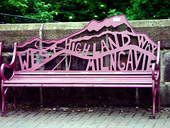 The West Highland Way starting point in Milngavie Town Centre